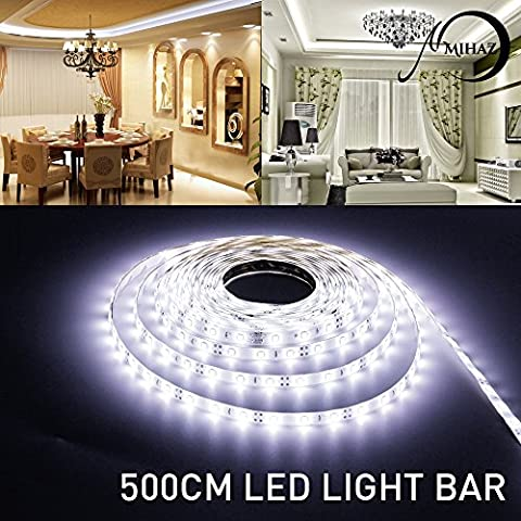 Lumière de bande de LED, MIHAZ 5050 a mené des lumières de bande, 16.4ft 5M 300 LEDs Strip Lights, Warm White a conduit des bandes d'éclairage, étanche LED Strip Light, alimentation pour la maison et la cuisine Décoration (5M 5050 300 leds White Strip ONLY)