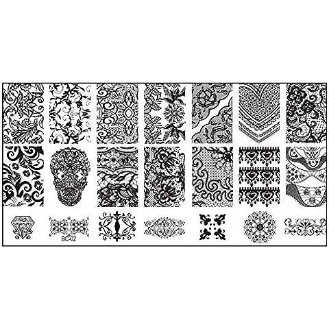 Malloom® Nail sello estampa placa impresión flores retro imágenes clavo DIY Plantilla Arte 02