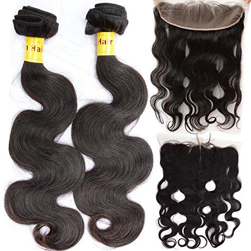 Noble Reine Cheveux 13 x 4 en dentelle Fermeture frontal avec Bundle vierge Trame de cheveux Body Wave de Malaisie d'une oreille à dentelle frontale Lot de 4
