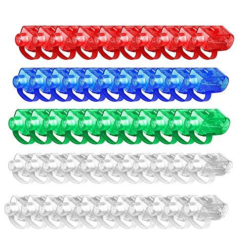 50pcs LED Finger Licht, FLYING_WE Super helle LED-Finger-Lichtstrahlen, Leuchten Sie Toys Party-Bevorzugungs-Versorgungsmaterialien.( Farbige Farbe )