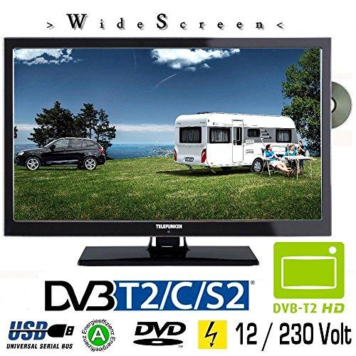 Telefunken T22X740 MOBIL LED TV 22 Zoll DVB/S/S2/T2/C, DVD, USB, 12V 230 Volt Fernseher für Wohnmobil Camping KFZ LKW Truck und Zuhause