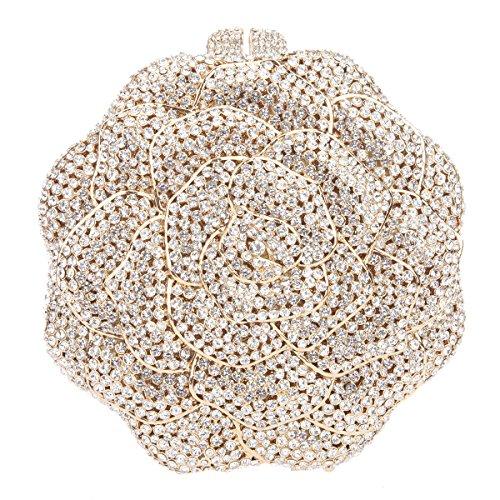 Bonjanvye Studded Rose Evening Purse Crystal Rhinestone Floral Clutch Bag AB Gold Gold