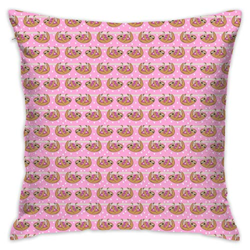 BigHappyShop Tiny - Sweet Valentines Sloth and Hearts Pattern Fabric - Sloth Fabric Pillow Cover 18