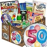 50. Geburtstag | Ostalgie Box | DDR Spezialitäten-Box mit Halloren, Wikana und Rotstern und vielem mehr