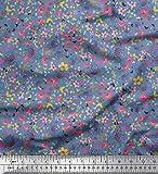 Soimoi Blau Baumwolle Batist Stoff Blätter, Schmetterling
