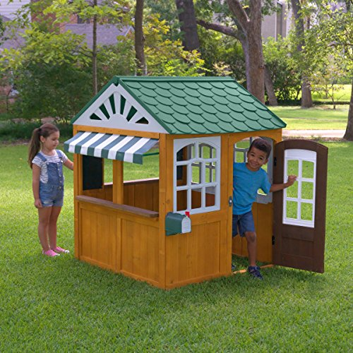 KidKraft- 405 casita de Juegos para jardín y Exterior al Aire Libre de Madera para niños Garden viewmcon Pizarra, Maceta y toldo de Estilo cafetería, Color marrón (