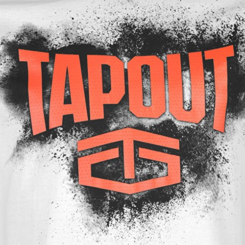 Tapout Herren Placement T Shirt Kurzarm Rundhals Baumwolle Regular Fit Print Weiß