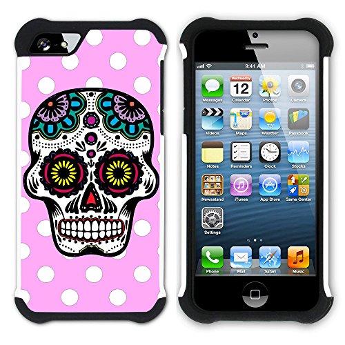 Graphic4You Mexikanische Zuckerschädel Tod Punktmuster Tupfen Muster (Wasserblau) Hart + Weiche Kratzfeste Hülle Case Schale Tasche Schutzhülle für Apple iPhone SE / 5 / 5S Hell-Pink
