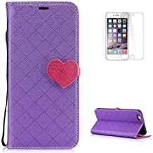 KaseHom Case for (iPhone 6 Plus/6S Plus) Custodia Flip Premium[Gratuito Proteggi schermo] Classic Amore disegno del cuore Fondina [Titolare della carta] Sottile della copertura antiurto-Viola