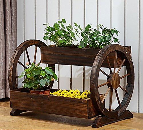 ZJM Blumenregal Kreative Holz Blumenständer Blumenkasten Carbonisation Antiseptische Pergola Garten...