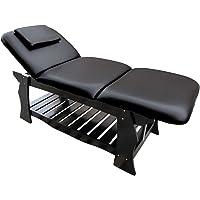Table de Massage fixe de eyepower 3 Zones professionnel 190x70cm lit cosmetique avec dossier et repose-pieds inclinables