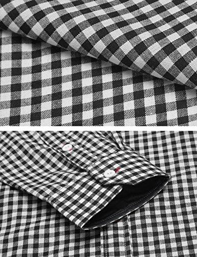 Burlady herren trachtenhemd karohemd business casual ein langärmliges hemd karierten Schwarz
