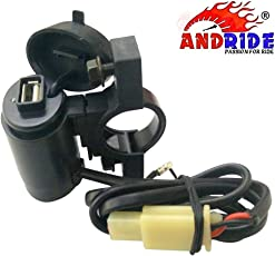 Andride Motorcycle Handlebar Mount USB Charger Socket 2.1A 9V with USB Charging System for Mobile, Tablet, Portable Music Player and GPS