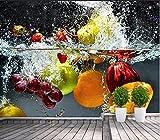 Yosot Benutzerdefinierte Fototapete Hd Künstlerische Orange Blume Wasser Der Frucht Wohnzimmer Hintergrund 3D Große Wand Wandbild Tapete-200Cmx140Cm