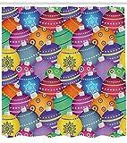 Abakuhaus Weihnachten Duschvorhang, Bunte Weihnachtskugeln, Bakterie Schimmel Resistent inkl. 12 Haken Waschbar Stielvoller Digitaldruck, 175 x 200 cm, Multicolor
