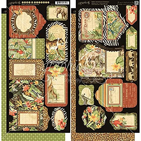 Graphic 45 Safari Adventure Cardstock Die Cuts 6-Inch x 12-Inch Sheets Tags and Pockets