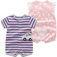 JiAmy Confezione da 2 Bambino Manica Corta Pagliaccetto Estate Body per Ragazze Tuta Pigiama Bambina in Cotone Outfit