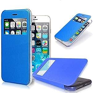 iPhone 6 Plus Case, Pasonomi [Smart Window View] Apple iPhone 6 Plus Folio Wallet Case - Slim Flip Leather Case For Apple iPhone 6+ iPhone Plus 5.5 Inch Smartphone (Blue)