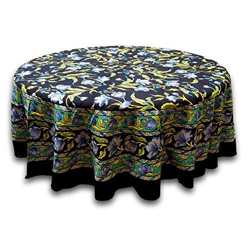Indien Arts Tischdecke ~ mehreren Größen erhältlich: ~ 100% Baumwolle tc10903(Seafoam French Floral, 182,9cm rund) (Seafoam Tischdecken)