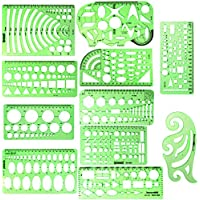 ipxead 11 Piece Geometric Drawing Template Measuring Ruler, Transparent Green Plastic Ruler with Portable Plastic Bag for, for Studying, Designing and Building