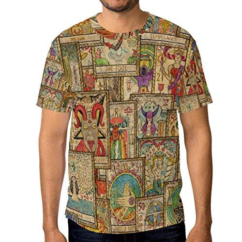ALAZA Hombre Manga Corta Cartas de Tarot de la Vendimia Ocasional de la Camisa de Cuello Medio Multi