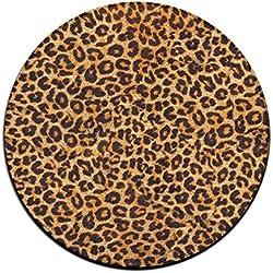 Doormat shirt Alfombra Redonda con Estampado de Leopardo para Comedor, Dormitorio, Cocina, baño, balcón