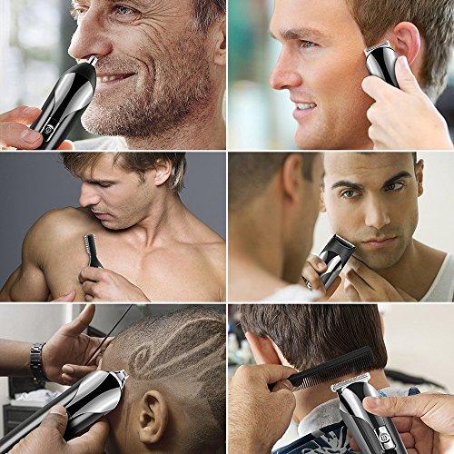 Cortapelos Profesional Hombre VOBON Afeitadora Corporal Hombres 6 en 1 Set de Afeitado Multifunción Eléctrico Maquina Afeitar Recortador de Barba/ Nariz / Orejas / Cabeza / Cara / Cuerpo