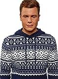 oodji Ultra Hombre Jersey Navideño de Invierno con Capucha con Cordones y Decoración Geométrica, Azul, ES 56 / XL