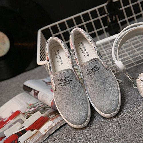 La Vogue Baskets Slip-On Basses Mode Ville Femme Fille Sneakers Chaussures Tendance Florales Casual Gris