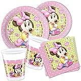 geburtstagsfee Minnie Mouse Baby Kinder-Geburtstag Deko-Set, 36-tlg. Komplettset mit Geschirr