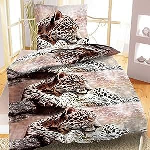 2 tlg Bettwäsche 135 x 200 cm Baumwolle braun leopard Garnitur Qualitätsware