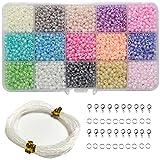 Ewparts 3mm Runde Glas Perle DIY Perlen für Kinder DIY Armband Kunst & Schmuck-Making, Baby Mädchen Geschenk, Perlen String machen mit Zubehör (Pearl)