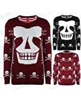 Womens Ladies Skull Halloween Long Sleeves Pullover Knitted Sweater Jumper Top