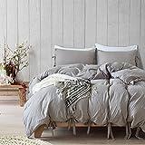 Boqingzhu Bettwäsche Garnitur Doppelbet Klassisch Grau 3 Teilig1 Bettdeckenbezug (220 x 230 cm) mit 2 Kopfkissen (80 x 80 cm) Pastell Gegen Schimmel Baumwolle