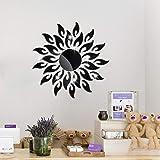 Yolistar 27 Pcs Flor del Sol Pegatinas Decorativas Pared Negro, Pegatinas de Cristal Acrílico Brillante, 3D Modern Espejo de
