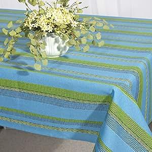 Merida nappe bleu 130 x 160 cm rayé bleu/fleurs et d'set de table boutique
