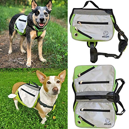 Alcott Explorer Hund Rucksack Hundegeschirr Satteltasche Klein, Grün/Grau, Camping Wandern -