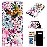 Samsung Galaxy Note 8 Hülle,Samsung Galaxy Note 8 Schutzhülle, Alfort Lederhülle Bunt Prägen Flip PU Leder Tasche für Samsung Galaxy Note 8 Smartphone Standfunktion (Blumen-Symbol)