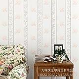 MDDW-Romantische Garten Schlafzimmer Wohnzimmer Stereo-vertikal gestreifte florale Vliestapete , 66091 meters white