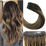 LaaVoo 14pouce/35cm Balayage Extension Cheveux Naturel Clips Marron Chocolat avec Blonde Caramel #4/27/4 One Piece de Clip en Extension 100 Naturel Humains Total 80GR