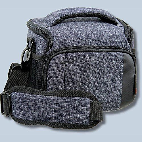 Braun Alpe M Denim Kameratasche für Systemkameras Bridgekamera Fototasche in blau Tasche mit Regencape passend für z.B. Canon EOS M Nikon B700 Panasonic DMC-GX DMC-GH Olympus OM-D Nikon 1 Sony Alpha
