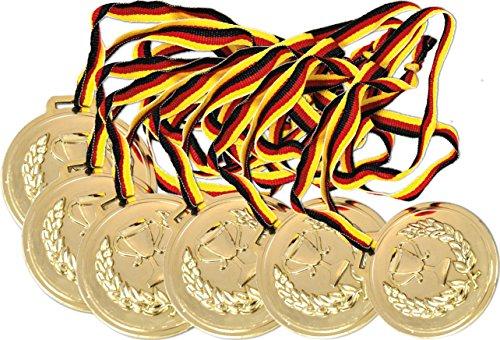 KSS 6 x Medaillen groß ca. 6cm Durchmesser ! mit Schwarz, rot, Gold Band Kindergeburtstag Fußball Party Mitgebsel Mitbringsel Tombola 6 Cm Band