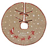 Tapis cache-pied de sapin de Noël Amajoy en toile de jute avec flocons de neige blancs - Décoration de fête, motif écossais rouge et vert, 48'