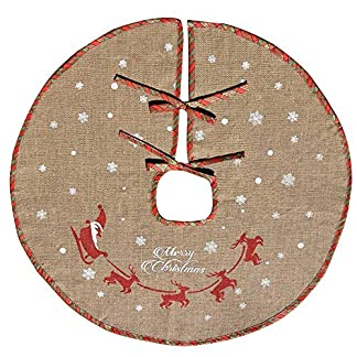 AmaJOY Merry Christmas Tree Skirt White Snowflake Burlap Tree Falda para la decoración de Navidad Decoración festiva, cuadros rojos y verdes, 78 cm