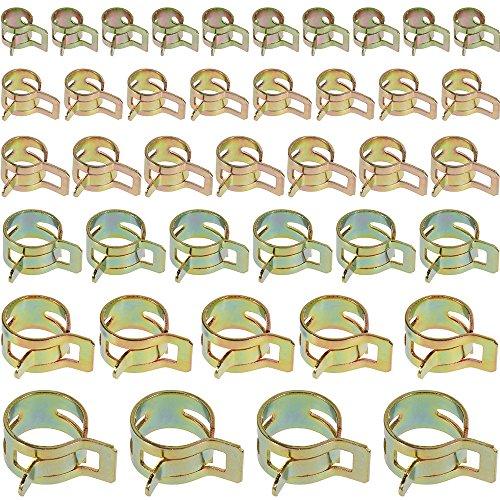 Anpro 60PCS Clip à Ressort Tuyau Serre-joints à Tuyaux Colliers de Clip à Ressort Tuyau Serrage Ajustable 6 Sortes de Tailles Pour Fixer Tuyaux Souples et Durites