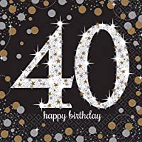 Amscan Sparkling Gold Celebration Happy 40th Birthday Napkins (Pack of 16)