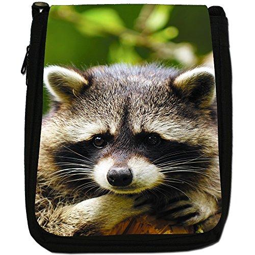 Raccoon-Borsa a tracolla in tela, colore: nero, taglia: M Sad Raccoon