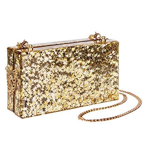 Blue Banana Star Glitter Box Clutch Tasche (Gold) Gold
