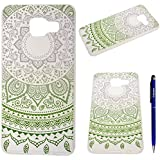 Coque Samsung Galaxy A3(2016), Yokata Case Mandala Tribal Motif Design Housse Étui Clair Transparente Soft Doux TPU Silicone Bumper avec Difficile PC Backcover Ultra Mince Hybrid Crystal Coque - Vert