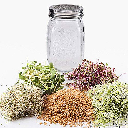 stahl Sprouting Jar Lid Kit für Superb Ventilation Wide Mouth Mason Jars Canning Jars Making Organic Sprout Seeds ()